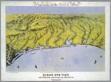Birds Eye view of Texas 1861